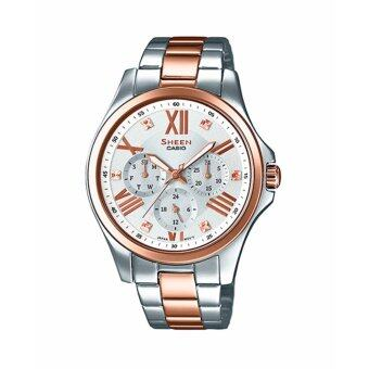 Casio Sheen Chronograph นาฬิกาข้อมือผู้หญิง สองกษัตริย์ สายสแตนเลส รุ่น SHE-3806SPG-7A