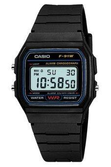 Casio นาฬิกาข้อมือผู้ชาย สายเรซิ่น รุ่น F-91W-1DG - สีดำ
