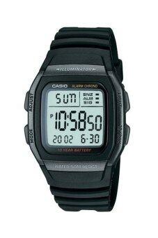ประเทศไทย Casio Standard นาฬิกาข้อมือผู้ชาย สีดำ สายเรซิ่น รุ่น W-96H-1B