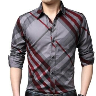 Casual Striped Men Shirts Slim Fit Male Social Shirts 4XL BrandLong Sleeve Business Shirt Men Clothes Spring Red - intl