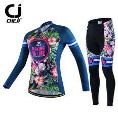 Cbike CJ ชุดจักรยานผู้หญิง แขนยาว ลายดอกไม้ สวย ชุดขี่จักรยานแขนยาว