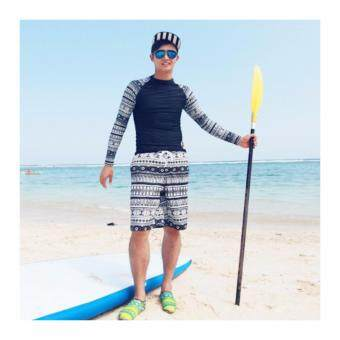 [ชาย] ชุดว่ายผู้ชาย แขนยาว SURF City Rashguard ไซต์ XL-2XL # 7009