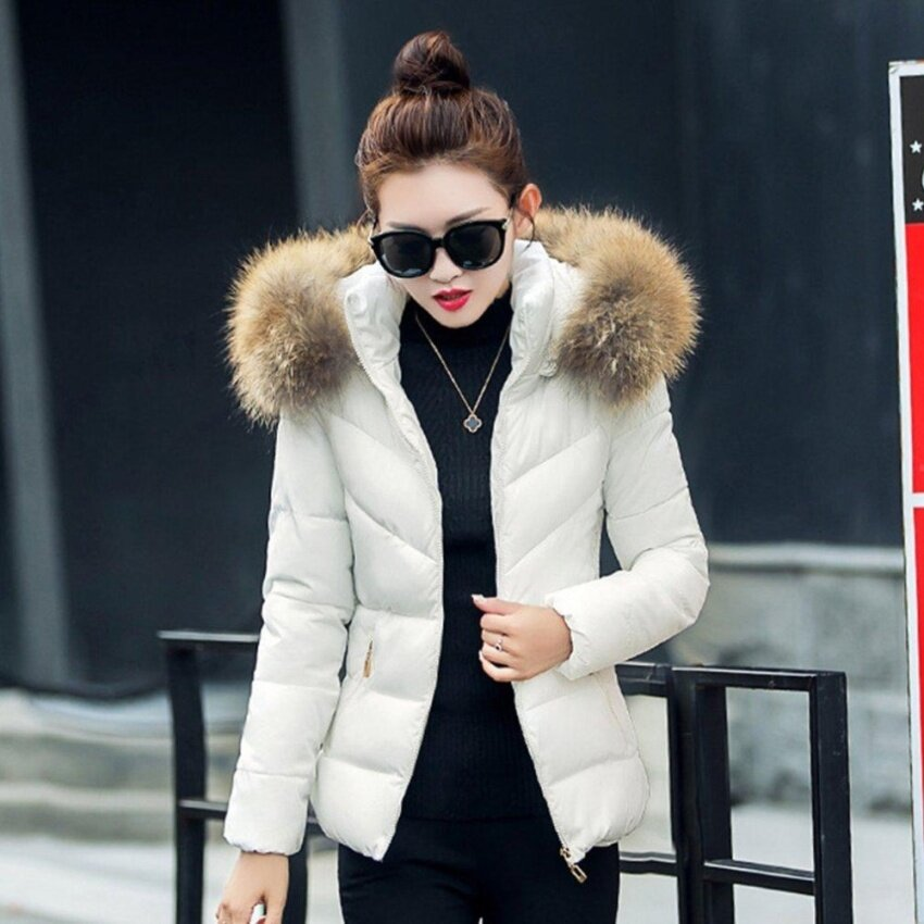 ขาย CHEER Female Down Cotton Coat Short Slim Hooded Parkas Fur Collar Jacket Coat White L - intl