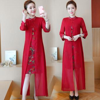 จีนลมฤดูใบไม้ร่วงใหม่ที่ดีขึ้นชุด cheongsam จีน (ไวน์แดง)