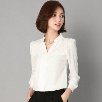 Chiffon Blouse Women Autumn 2017 Long Sleeve Ladies Office ShirtsKorean Fashion Casual Slim Women Tops (White) - intl