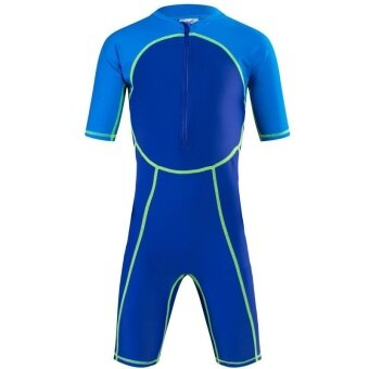 Child Boy Swimsuit Short Sleeve Swimwear Sunscreen Summer Kids Shorty Rashguard Surf Suit Snorkeling Diving Wear - blue - intl