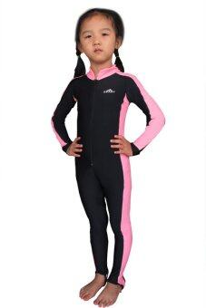 Children Girls Wetsuits One Piece Swimsuit Fullsuit Kids Snorkeling Scuba Diving Wet Suit (Pink)