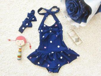 Children Swimsuit Cute Girl Baby One Piece Skirt Swimsuit DanceClothes - Blue - intl