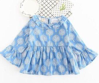 Children's clothing on behalf of a hair 2017 girls Korean version\nof the baby through the full version of the long-sleeved dress\nshirt - intl