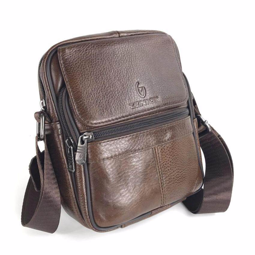 Chinatown Leather กระเป๋าสะพายหนังแท้ ฝาหน้าซิปยื่นใหญ่สีน้ำตาล