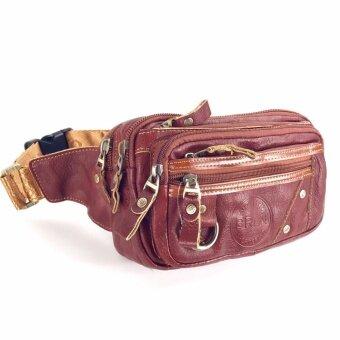 กระเป๋าคาดเอวหนังแท้ซิปคู่ใหญ่สีแทน