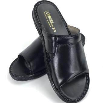 Chinatown Leather รองเท้าแตะหนังวัวแท้ เย็บมือทั้งคู่ สีดำ