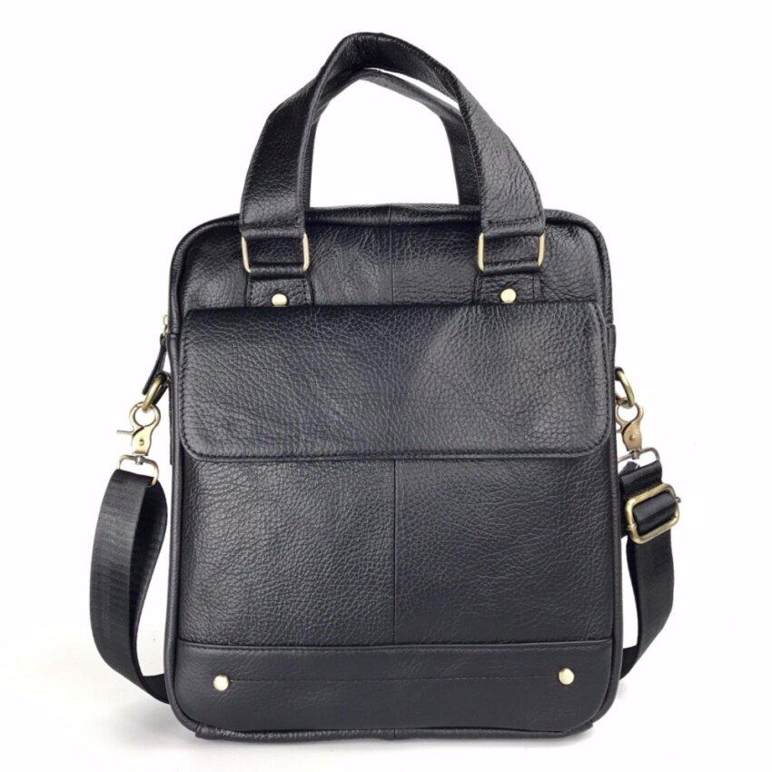 Chinatown Leatherกระเป๋าสะพายหนังแท้เอกสารA4สีดำฝาข้างแนวตั้ง สีดำ