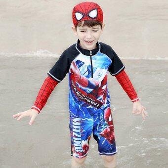 ชุดว่ายน้ำ เด็กผู้ชาย Spider man + หมวก อายุ 3-12 ปี # 16D24
