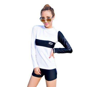 ชุดว่ายน้ำแขนยาว LaLa Sports กางเกงขาสั้น ไซต์ M-XL # 5532