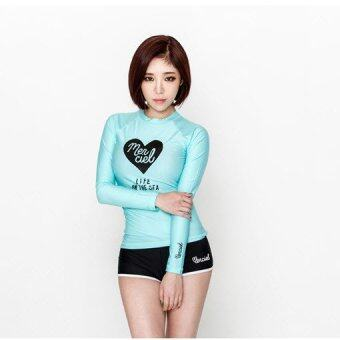 ชุดว่ายน้ำแขนยาว Merciel สีฟ้า ไซต์ M-XL # 16034
