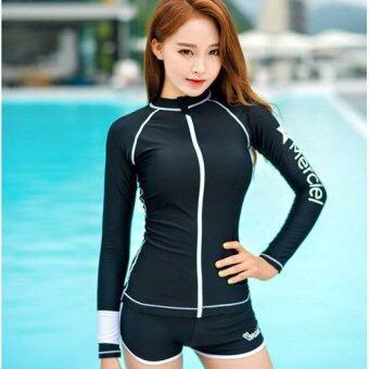 ชุดว่ายน้ำแขนยาว Merciel Zip Black ไซต์ M-XL # 16039