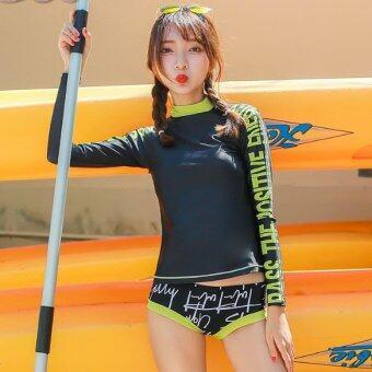 ชุดว่ายน้ำแขนยาว Sign print Rash Guards ไซต์ M-XL # 6959