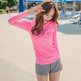 ชุดว่ายน้ำแขนยาว Summer Pink Rashguard ไซต์ M-XL # 16045