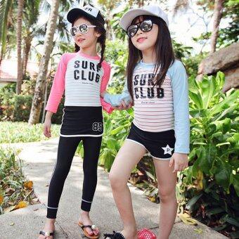 ชุดว่ายน้ำเด็ก แขนยาว ขายาว Surfing rashguard สีชมพู # 6136