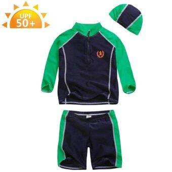 ชุดว่ายน้ำเด็ก VIVO BINIYA แขนยาว UPF50+ สีเขียว-น้ำเงิน+ หมวกว่ายน้ำ # F1398G
