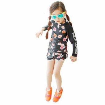 ชุดว่ายน้ำเด็กผู้หญิง แขนยาว สีดำ ลายดอกกุหลาบ # 1106
