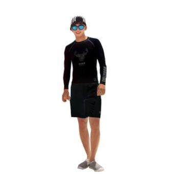 ชุดว่ายน้ำผู้ชายแขนยาว DEER BY ROOUTINE สีดำ เซ็ท 2 ชิ้น ไซส์ L-XL # 8622