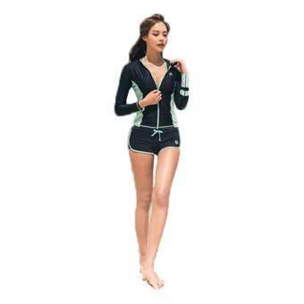ชุดว่ายน้ำผู้หญิง RR Jacket Rashguard Green เซ็ต 3 ชิ้น ไซต์ M-XL # 1713