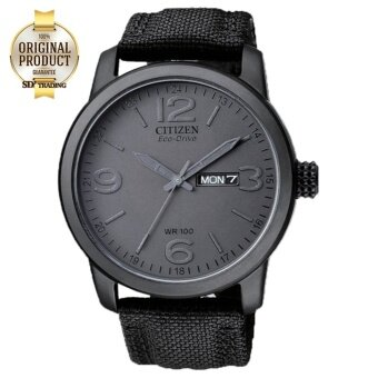 CITIZEN Eco-Drive Military Black Out Nylon Strap Men's Watch รุ่น BM8475-00F - Black PVD