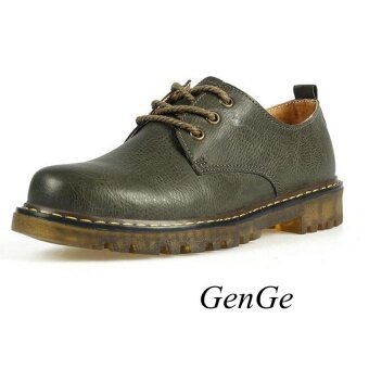 Classic British Fashion Martin Shoes. Womens Leather Shoes Retro Martin Boots Selling dark-green - intl
