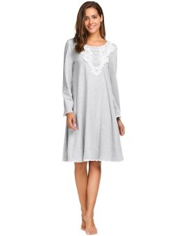 Clearance Sale Women Long Sleeve Lace Patchwork Casual Loose Nightgown Sleepwear (Grey) - intl