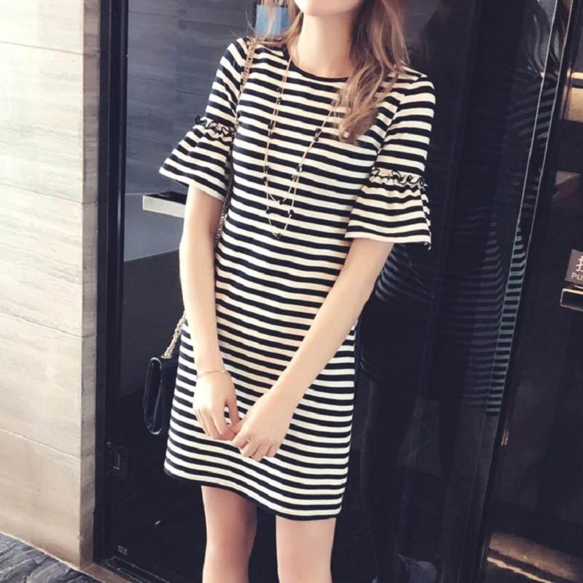 Clothes เสื้อยืดแฟชั่นตัวยาว ทรงกระบอก / แซก ผ้านุ่ม (สีขาว-ดำ) รุ่น 5054
