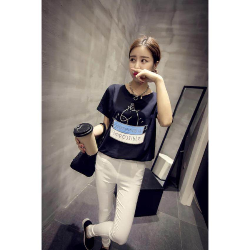 ขาย Clothes Fashion เสื้อยืดแฟชั่น คอกลม แขนสั้น (สีขาว) สกรีนลายด้านหน้า รุ่น
