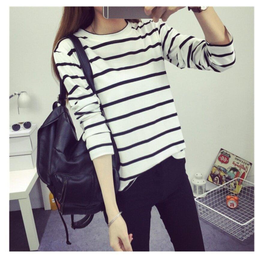 clothes fashion แฟชั่นใหม่เสื้อยืดเสื้อแขนยาวลายทางWhite/BLACK