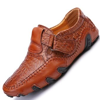 CLZQ Men Genuine Leather Breathable Business Shoes (Brown) - intl