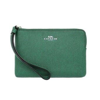 ต้องการขาย Coach กระเป๋าคล้องมือไซส์เล็ก 1 ซิป F58032 Corner Zip Wristlet In Crossgrain Leather - Silver/Jade