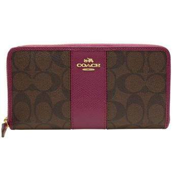 Harga COACH 54630 ACCORDION ZIP WALLET CANVAS WITH LEATHER STRIPE Fuchsia
