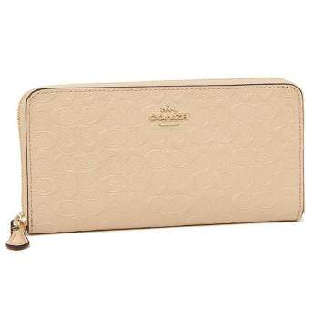 สนใจซื้อ COACH 54805 ACCORDION ZIP WALLET IN SIGNATURE DEBOSSED PATENTLEATHER Beige