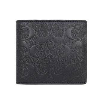 COACH 75363 COIN WALLET IN SIGNATURE CROSSGRAIN LEATHER Black(Int:S)