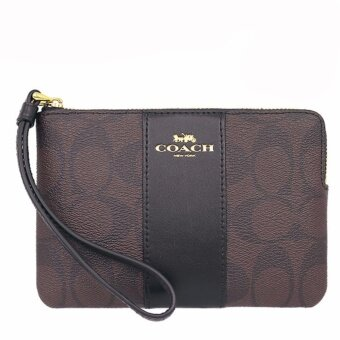 Coach กระเป๋าคล้องมือ COACH F58035 CORNER ZIP WRISTLET IN SIGNATURE COATED CANVAS WITH LEATHER STRIPE