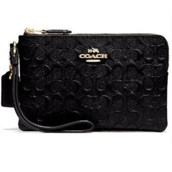 COACH กระเป๋าคล้องมือหนังแก้ว CORNER ZIP WRISTLET IN SIGNATURE DEBOSSED PATENT LEATHER COACH F55206