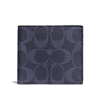 COACH กระเป๋าสตางค์ DOUBLE BILLFOLD WALLET IN SIGNATURE F75083(DENIM)