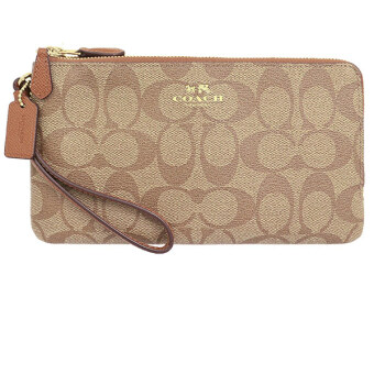 Harga COACH DOUBLE ZIP WALLET IN SIGNATURE F54057 (GOLD/KHAKI/SADDLE)