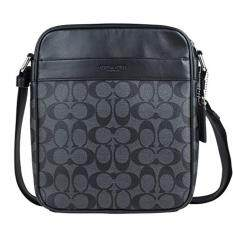 Coach F54788 Signature coated PVC with leather trim CHARCOAL BLACK