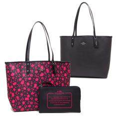 COACH F55862 REVERSIBLE CITY TOTE IN PRAIRIE CALICO PRINT CANVAS (PINK RUBY MULTI MIDNIGHT)