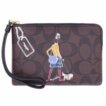 Harga COACH F57586 BONNIE CASHIN CORNER ZIP WRISTLET (BROWN/BLACK)