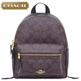 COACH F58315 MINI CHARLIE BACKPACK IN SIGNATURE COATED CANVAS(Brown/Black)