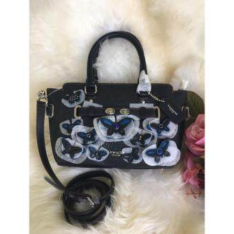 COACH F59810 กระเป๋าถือสะพายหนังสีดำ แต่งผีเสื้อ MINI BLAKECARRYALL IN PEBBLE LEATHER WITH ALL OVER BUTTERFLY APPLIQUE