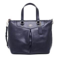 Coach Leather Pleat Tote Satchel Handbag รุ่น 34680 - Midnight