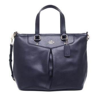 ต้องการขาย Coach Leather Pleat Tote Satchel Handbag รุ่น 34680 - Midnight